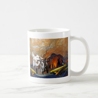 Cute Goat and Goldfish in a Glowing Cave Coffee Mug