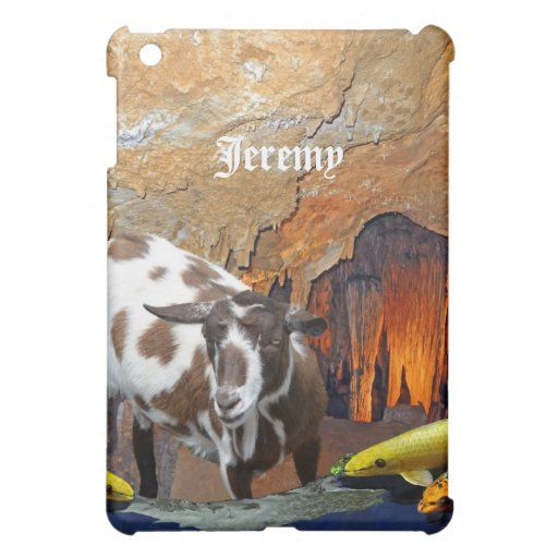 Cute Goat and Goldfish in a Glowing Cave Fantasy Case For The iPad Mini