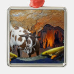 Cute Goat and Goldfish in a Glowing Cave Fantasy Christmas Ornament