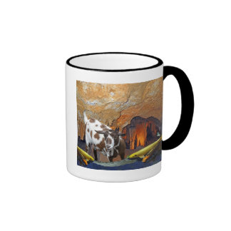 Cute Goat and Goldfish in a Glowing Cave Fantasy Ringer Mug