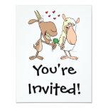 cute goat sheep love cartoon 4.25x5.5 paper invitation card