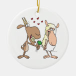 cute goat sheep love cartoon Double-Sided ceramic round christmas ornament