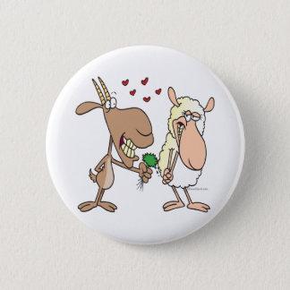 cute goat sheep love cartoon pinback button
