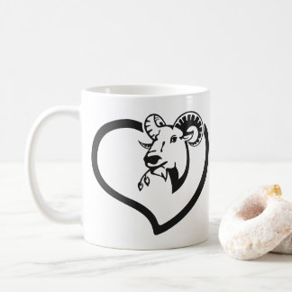 Cute Goat Vector in Black Love - Funny Animal Coffee Mug