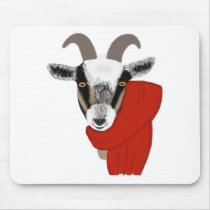 Cute Goat Wearing a Scarf Mouse Pad