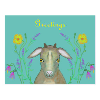 Cute goat with alpine flowers postcard