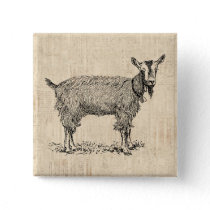 Cute Goat with Bell Illustration Antique Script Button