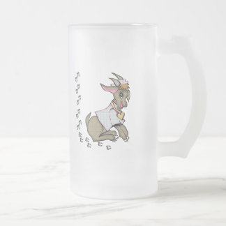 Cute Goat With HoofPrints Frosted Glass Beer Mug
