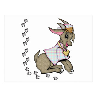 Cute Goat With HoofPrints Postcard