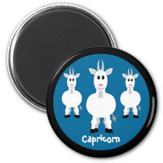 Cute Goats Capricorn Zodiac Sign Custom Blue 2 Inch Round Magnet