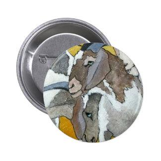 Cute Goats Cuddling Button