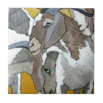 Cute Goats Cuddling Tile