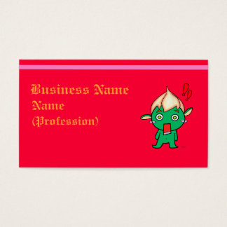 Cute goblin with a flower on his head business card