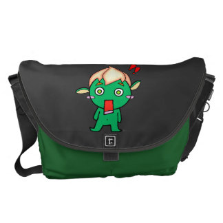 Cute goblin with a flower on his head courier bag