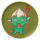 Cute goblin with a flower on his head dinner plate