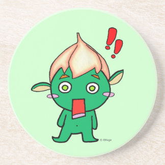 Cute goblin with a flower on his head drink coaster