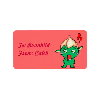 Cute Goblin with a flower on his head Personalized Address Labels