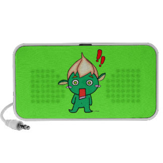 Cute goblin with a flower on his head portable speaker
