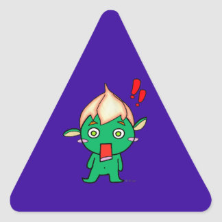 Cute goblin with a flower on his head triangle sticker