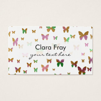 cute gold and rose gold foil butterfly pattern business card