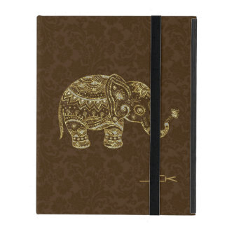 Cute Gold & Brown Glitter Floral Elephant iPad Folio Case
