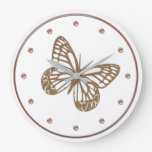 Cute Gold Butterfly  Wall  Clock