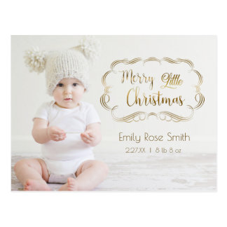 Cute Gold Calligraphy First Christmas Photo Card