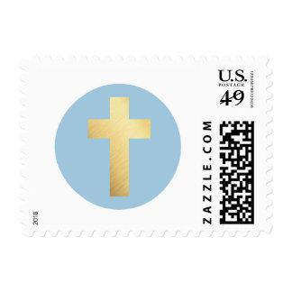 CUTE GOLD CROSS modern baptism circle spot blue Postage