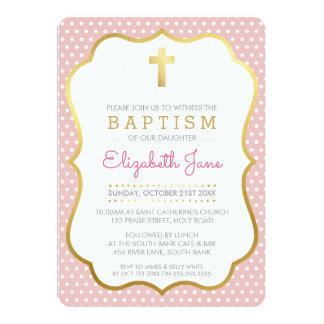 CUTE GOLD CROSS pretty baptism fancy polkadot pink Card