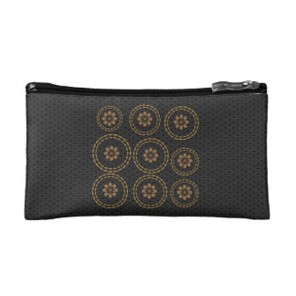 Cute Gold Flowers Snowflake Black Leather Look Bag