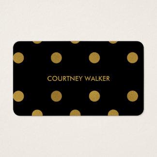 Cute gold foil & black polka dot business cards