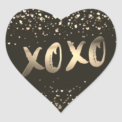 Cute Gold Foil Love XOXO Heart Confetti Modern Heart Sticker