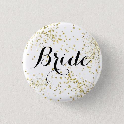 Cute Gold Glitter Bride Button