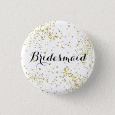 Cute Gold Glitter Bridesmaid Button at Zazzle