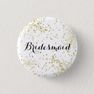 BrideStyle Cute Gold Glitter Bridesmaid Button
