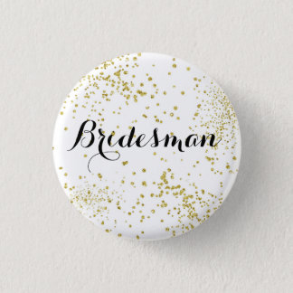 Cute Gold Glitter Bridesman Button