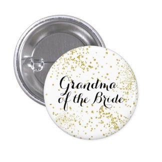 Cute Gold Glitter Grandma of the Bride Button