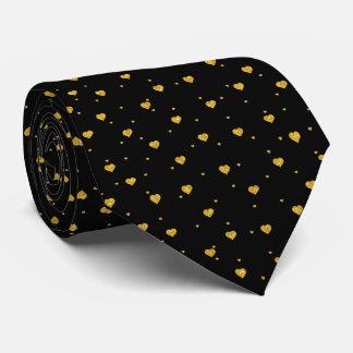 Cute Gold Glitter Hearts Pattern Neck Tie