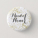 "Cute Gold Glitter Maid of Honor Button<br><div class=""desc"">Perfect way to honor your maid of honor for your rehearsal dinner or bachelorette party.</div>"