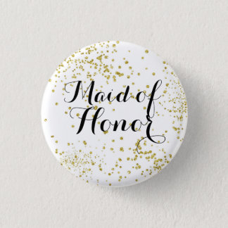 Cute Gold Glitter Maid of Honor Button