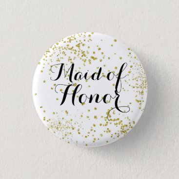 BrideStyle Cute Gold Glitter Maid of Honor Button