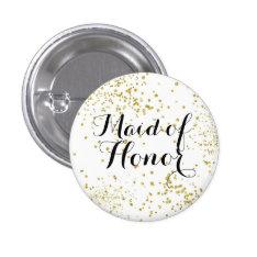 Cute Gold Glitter Maid of Honor Button at Zazzle