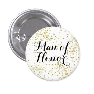 Cute Gold Glitter Man of Honor Button