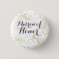 Cute Gold Glitter Matron of Honor Button