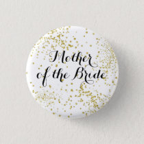 Cute Gold Glitter Mother of the Bride Button