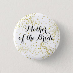 Cute Gold Glitter Mother Of The Bride Button at Zazzle