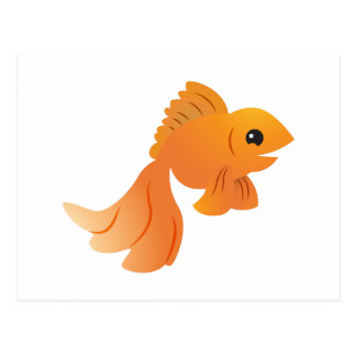 cute gold goldfish postcard