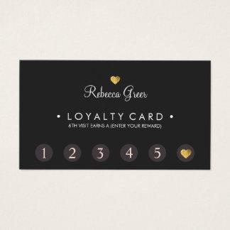 Cute Gold Heart 6 Punch Customer Loyalty Card