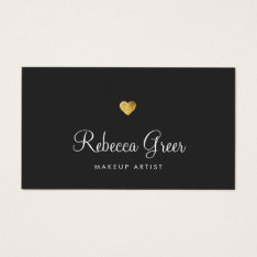 Cute Gold Heart Black Beauty Consultant Business Card at Zazzle