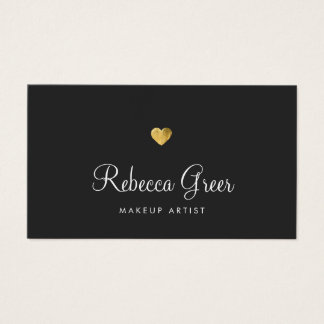 Cute Gold Heart Black Beauty Consultant Business Card